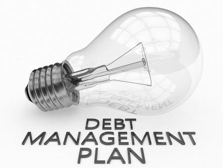debt management: Debt Management Plan - lightbulb on white background with text under it. 3d render illustration.
