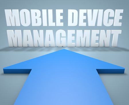 pointing device: Mobile Device Management - 3d render concept of blue arrow pointing to text.