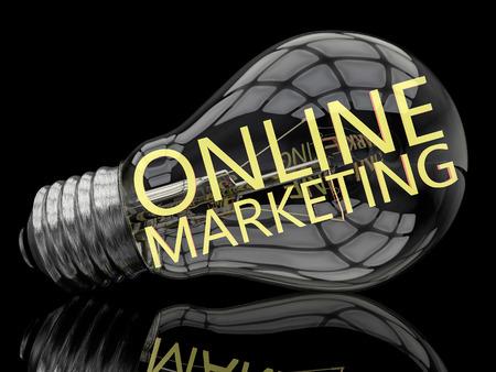 emarketing: Online Marketing - lightbulb on black background with text in it. 3d render illustration.