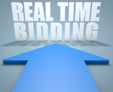 bidding: Real Time Bidding - 3d render concept of blue arrow pointing to text.