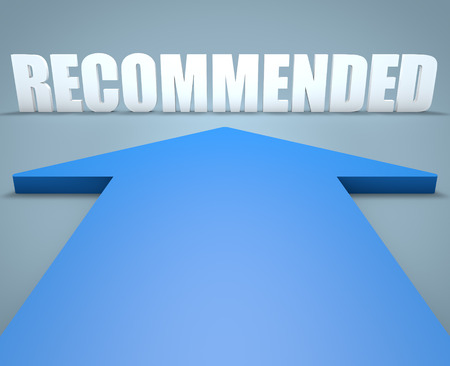 recommended: Recommended - 3d render concept of blue arrow pointing to text.