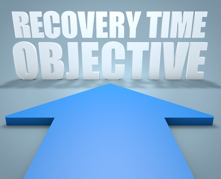time critical: Recovery Time Objective - 3d render concept of blue arrow pointing to text.