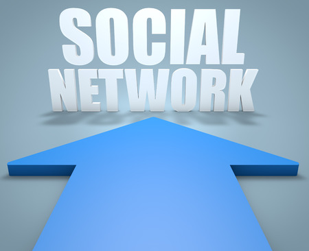 wikis: Social Network - 3d render concept of blue arrow pointing to text.