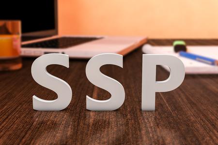 online bidding: SSP - Supply Side Platform - letters on wooden desk with laptop computer and a notebook. 3d render illustration.