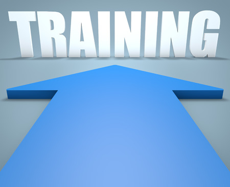 knowlage: Training - 3d render concept of blue arrow pointing to text. Stock Photo