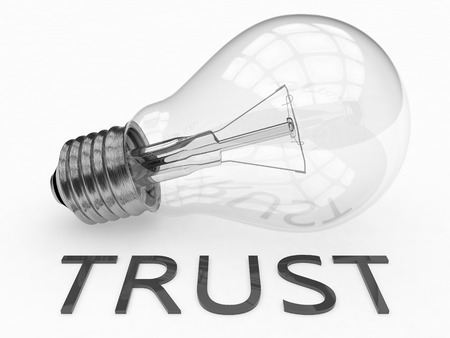 Trust - lightbulb on white background with text under it. 3d render illustration. illustration