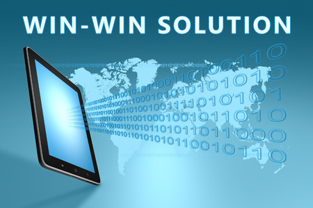 win: Win-Win Solution illustration with tablet computer on blue background Stock Photo