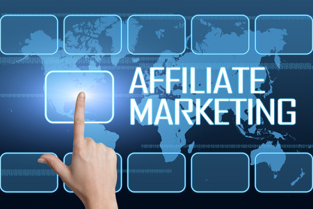 affiliates: Affiliate Marketing concept with interface and world map on blue background Stock Photo