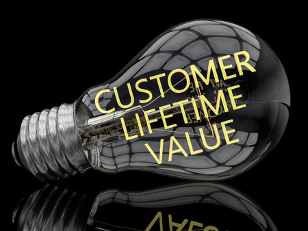 lifetime: Customer Lifetime Value - lightbulb on black background with text in it. 3d render illustration.