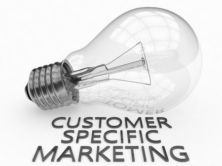 specific: Customer Specific Marketing - lightbulb on white background with text under it. 3d render illustration. Stock Photo