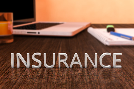 accident rate: Insurance - letters on wooden desk with laptop computer and a notebook. 3d render illustration. Stock Photo