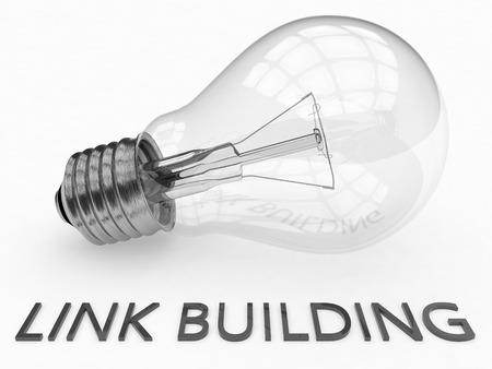 linkbuilding: Link Building - lightbulb on white background with text under it. 3d render illustration.