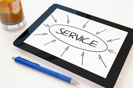 service desk: Service - text concept on a mobile tablet computer on a desk - 3d render illustration.