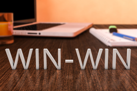 win: Win-Win - letters on wooden desk with laptop computer and a notebook. 3d render illustration.