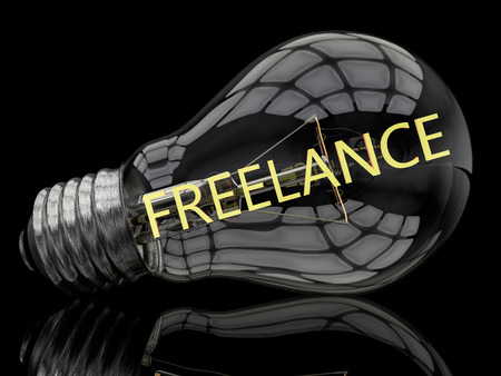 independent contractor: Freelance - lightbulb on black background with text in it. 3d render illustration.
