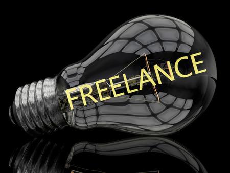 Freelance - lightbulb on black background with text in it. 3d render illustration.