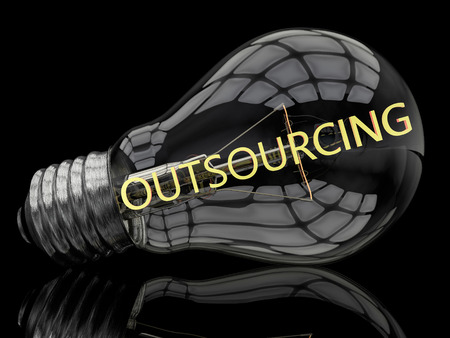 Outsourcing - lightbulb on black background with text in it. 3d render illustration. illustration