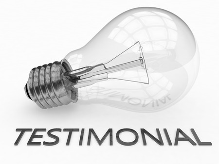 affirmations: Testimonial - lightbulb on white background with text under it. 3d render illustration.