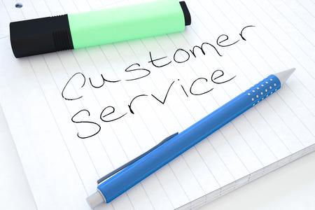 service desk: Customer Service - handwritten text in a notebook on a desk - 3d render illustration. Stock Photo