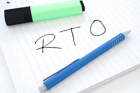 time critical: RTO - Recovery Time Objective - handwritten text in a notebook on a desk - 3d render illustration. Stock Photo