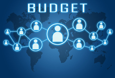 budgets: Budget concept on blue background with world map and social icons. Stock Photo