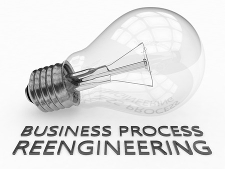 business process reengineering: Business Process Reengineering - lightbulb on white background with text under it. 3d render illustration. Stock Photo