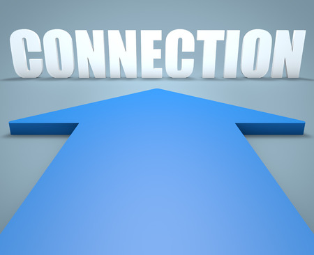 blue arrow: Connection - 3d render concept of blue arrow pointing to text.