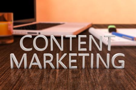 콘텐츠 마케팅 - 노트북 컴퓨터와 노트북 나무 책상에 편지입니다. 3 차원 렌더링 그림. 스톡 콘텐츠