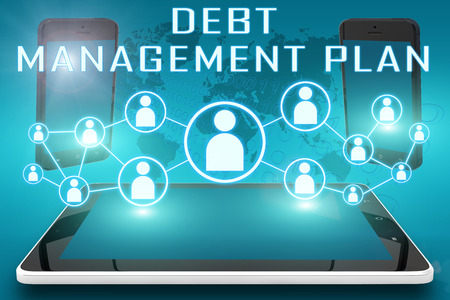 debt management: Debt Management Plan - text illustration with social icons and tablet computer and mobile cellphones on cyan digital world map background Stock Photo