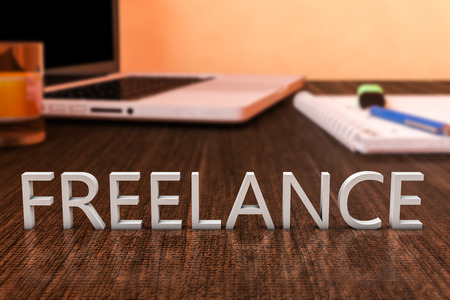 freelancers: Freelance - letters on wooden desk with laptop computer and a notebook. 3d render illustration. Stock Photo