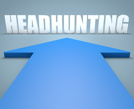 headhunting: Headhunting - 3d render concept of blue arrow pointing to text.