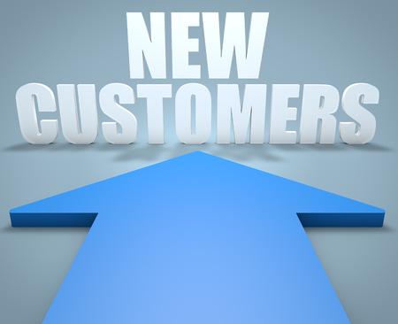 Nouveaux clients - 3D render concept de bleu flèche pointant vers texte. Banque d'images