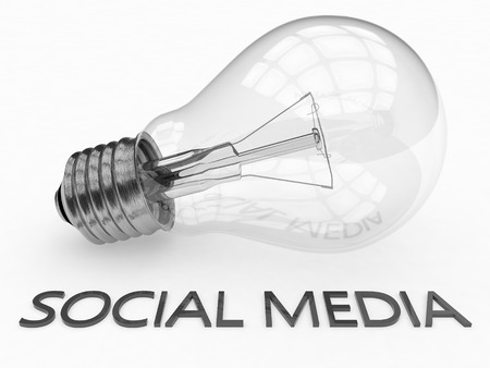 wikis: Social Media - lightbulb on white background with text under it. 3d render illustration. Stock Photo