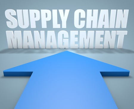 variance: Supply Chain Management - 3d render concept of blue arrow pointing to text.