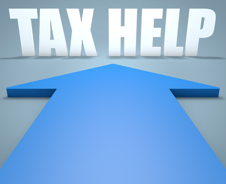 excise: Tax Help - 3d render concept of blue arrow pointing to text. Stock Photo