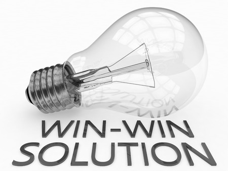 Win-Win Solution - lightbulb on white background with text under it. 3d render illustration.