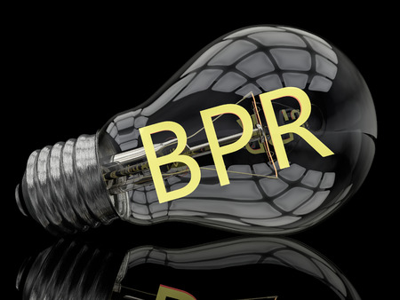business process reengineering: BPR - Business Process Reengineering - lightbulb on black background with text in it. 3d render illustration.