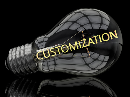 customization: Customization - lightbulb on black background with text in it. 3d render illustration.