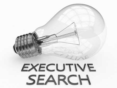 executive search: Executive Search - lightbulb on white background with text under it. 3d render illustration.