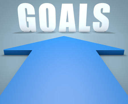 Goals - 3d render concept of blue arrow pointing to text.