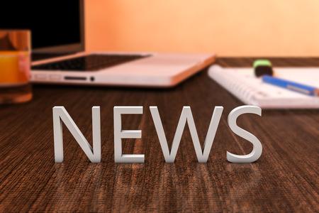 뉴스 - 노트북 컴퓨터와 노트북 나무 책상에 편지. 3d 렌더링 그림. 스톡 콘텐츠