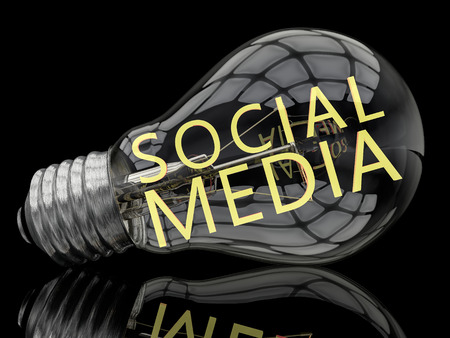 wikis: Social Media - lightbulb on black background with text in it. 3d render illustration. Stock Photo