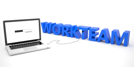 workteam: Workteam - laptop computer connected to a word on white background. 3d render illustration.