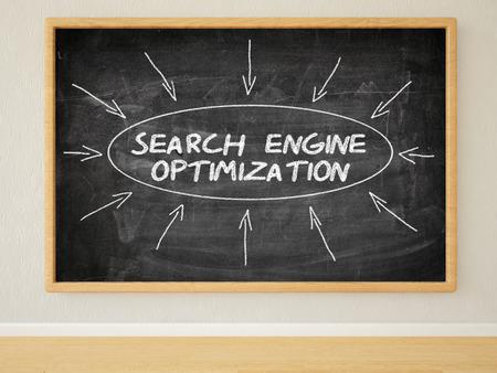 keywords link: Search Engine Optimization - 3d render illustration of text on black chalkboard in a room.