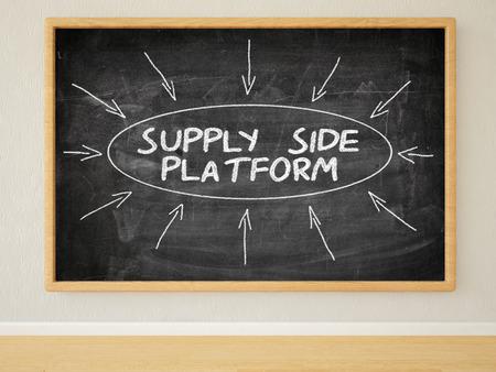 online bidding: Supply Side Platform - 3d render illustration of text on black chalkboard in a room. Stock Photo