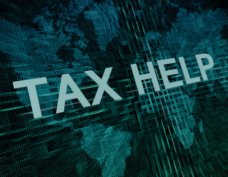 excise: Tax Help text concept on green digital world map background