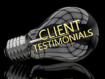 affirmations: Client Testimonials - lightbulb on black background with text in it. 3d render illustration.