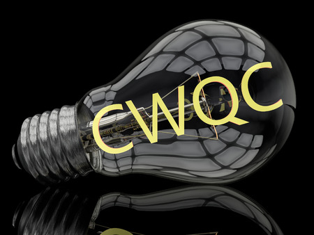 structuring: CWQC - Company Wide Quality Control - lightbulb on black background with text in it. 3d render illustration.