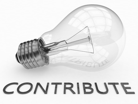 contribute: Contribute - lightbulb on white background with text under it. 3d render illustration. Stock Photo