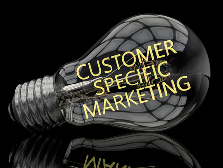 primary product: Customer Specific Marketing - lightbulb on black background with text in it. 3d render illustration.
